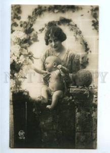 161779 Mother & Baby Boy Nude FLOWERS vintage PHOTO Salon PC