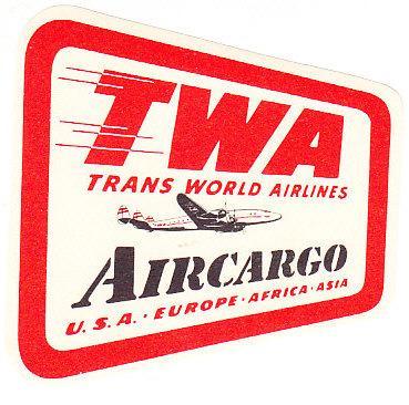 TWA Aircargo Baggage Label
