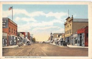 Williston North Dakota Main Street Looking South Antique Postcard K98478