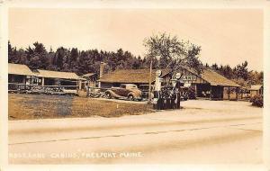 Freeport ME Roseland Cabins Socony Gas Station Old Cars RPPC Postcard