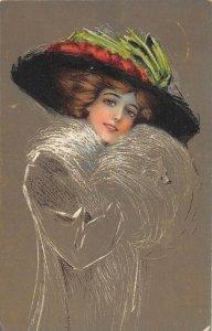 US3417 Woman Portrait, Hat Painting Postcard artist signed  fantasy art
