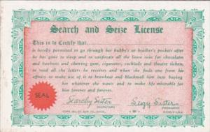 Vintage Arcade Card Humour Search and Seize License