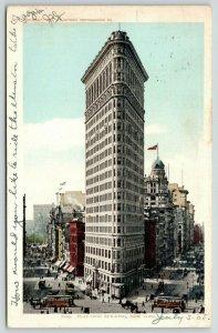 New York City~Flat Iron Building~Trolley Traffic~1903 Detroit Pub Co #7109