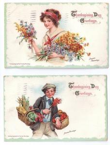 Brundage Thanksgiving Pretty Girl Flowers Boy Baskets Food Embossed Set of 2