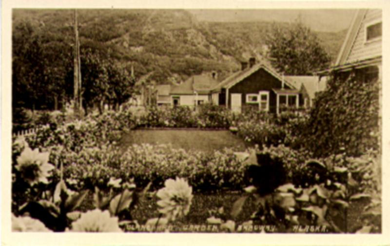 1930 Skagway Alaska Territory RPPC, Blanchard Garden & Back Description