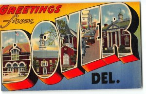 DOVER, DELAWARE Large Letter Linen Postcard, c1940 - Post Office, Car downtown