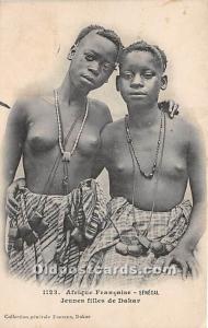 Jeunes filles de Dakar African Nude Postcard Afrique Francaise Senegal Writin...