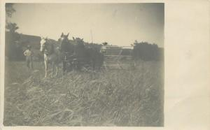 Farming~JCM in Seat~Barley Field~Horses Pull Thresher~Another Soaker~1907 RPPC