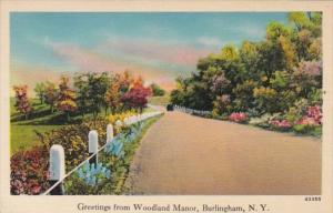 New York Greetings From Woodland Manor Burlingham 1941