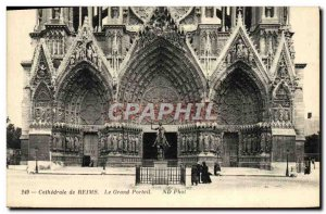 Old Postcard Cathedral Of Reims The Grand Portal