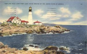 Portland Head Light House on Atlantic Coast, Maine - pm 1941 - Linen