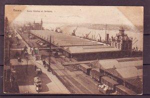 P1485 1921 postcard anvers quais orltelius et jordaens belgium RR shipping yard