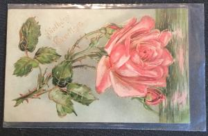"""Postcard Used """"Birthday Greetings"""" embossed Flower LB"""