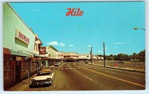 HILO, HI Hawaii    Street Scene SHIIGI DRUG STORE  c1950s  Car Postcard