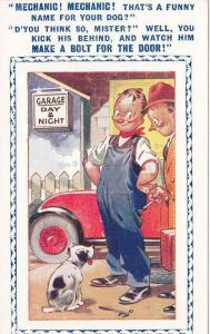 Mechanic the dog, owner and customer, Garage, Day & Night, 20-30s