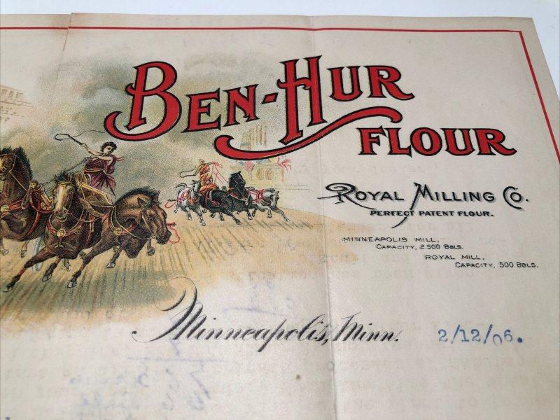 1906 Ben Hur Flour ROYAL MILLING Company Minneapolis MN Horse Color Letterhead