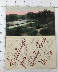 RARE - 1908 -  SLATY FORK W Va  POSTED Postcard HANDMADE DOUBLE WVA VIRGINA