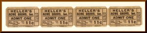 Heller's Acme Shows Carnival Tickets, Franklin Lakes, New Jersey/NJ, 195...