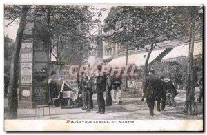 Old Postcard Paris on Boulevard St Martin Merchant Metiers newspapers