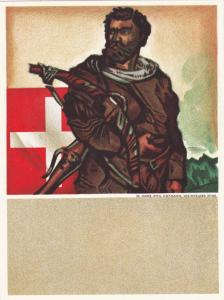 Shooting & Gun Competition poster Art, Man with crossbow & Swiss flag, Switze...