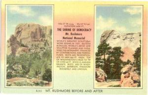 Mount Rushmore, Before and After, National Memorial, South Dakota, SD, Linen