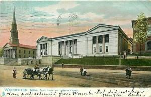 MA, Worcester, Massachusetts, Court House, Unitarian Church, Rapheal Tuck 1057
