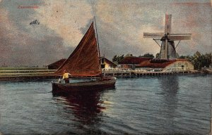 Netherlands Zaanstreek Holland Ware Postmark Boat Mill Postcard