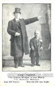 Tom Thumb Smallest Person, Midget, Midgets, Dwarf,  Circus Postcard Post Card...