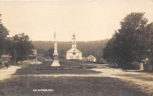 South Sutton New Hampshire~Church & Soldiers Monument~1920 RPPC