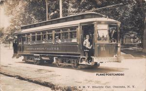 ONEONTA, NEW YORK, ONEONTA & MOHAWK VALLEY TROLLEY-1908 RPPC REAL PHOTO P.C.