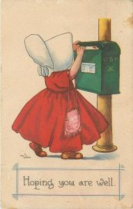 Bernhardt Wall~Hoping You Are Well~Sunbonnet Girl at US Mail Box~Purse~Red Dress