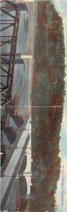 F51/ Zanesville Ohio Postcard c1910 2-Panel New Y Bridge River