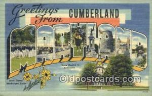 Cumberland, Maryland, USA Large Letter Town Postcard Post Card Old Vintage An...