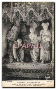 Old Postcard Cathedral of Chartres Closing Choir Woman Adultery Group John of...