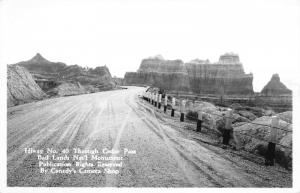 Badlands National Monument 1940s RPPC Real Photo Postcard Highway 40 Cedar Pass
