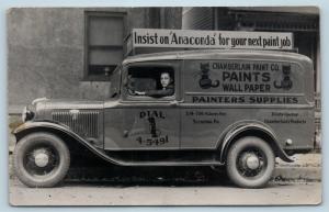 Postcard PA Scranton Chamberlain Paint Co 1930s Delivery Van Ad Anaconda RPPC M8