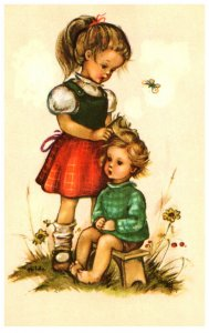 Child , combing toddler's hair  , signed Alfrecd Mainzer