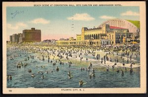 32120) NJ ATLANTIC CITY Beach Scene Convention Hall Carlton Ambassador - pm1953
