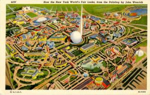 NY - New York World's Fair, 1939. Aerial View of Site  (Painting by John Wenr...