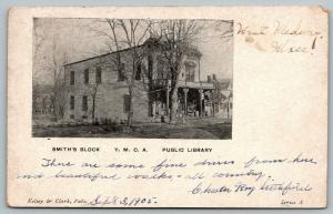 West Medway MA~Smith's Block~YMCA~Public Library~Fancy Pillars~Barrels 1905