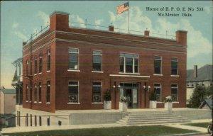 McAlester OK Home of BPOE Elks Home c1910 Postcard