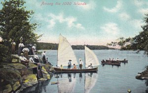THOUSAND ISLANDS, Ontario, Canada, 1900-1910's; Among The 1000 Islands, Fishi...