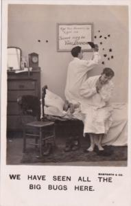 Bamforth Humour Couple In Bed Swatting Bugs  Real Photo