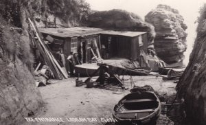 Boat Maker Repair Ladram Bay Entrance Devon Real Photo Postcard
