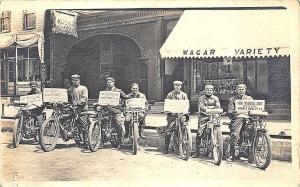 Rockford IL Advertising Motorcycle Races Cozy Theatre RPPC Postcard