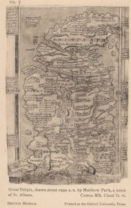 Great Britain Map in 1250 AD By St Albans Monk Antique Postcard