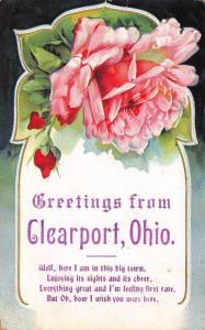 Enjoying the Sights in Clear Port Ohio~Art Nouveau Pink Roses~Poem~1910 PC