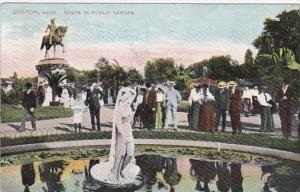 Massachusetts Boston Scene In Public Garden 1907