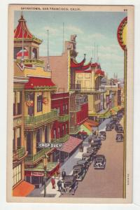 P1128 unused linen postcard old cars store signs san francisco calif