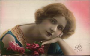 Beautiful French Woman 1920s Short Hair Lipstick Tinted RPPC LEO #897 #1 myn